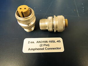 An3106 10sl 4s Amphenol Cannon Plug Female 2 Pin Connector 2 New