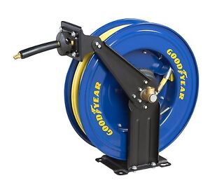 New Goodyear Heavy Duty Retractable Mountable Air Hose Reel 3 8 X 50 Hose