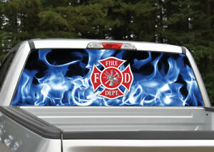 Firefighter Emblem Flames Blue Fire Rear Window Decal Graphic For Truck Suv