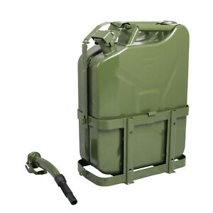 Jerry Can With Holder 20l Liter 5 Gallons Steel Tank Fuel Gas Gasoline Green