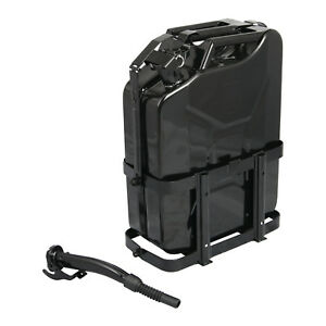 Jerry Can With Holder 20l Liter 5 Gallons Steel Tank Fuel Gas Gasoline Black