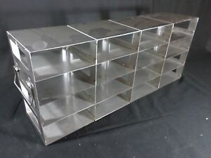 Laboratory Ss 16 position Side Access Upright Freezer Rack For 2 Standard Boxes