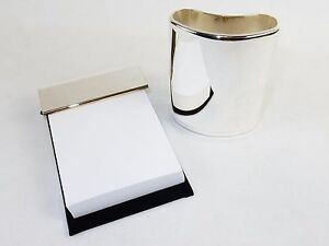 Silver Plated Desk Accessories Pencil Cup Memo Pad Executive Styling