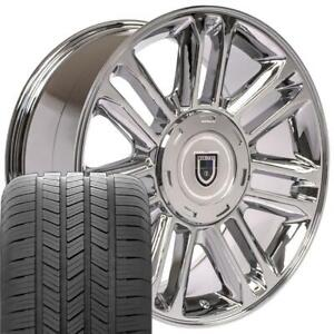 20 Escalade Style Wheels Tires Chrome 20x9 Rims Fit Cadillac Chevrolet Gmc Cp