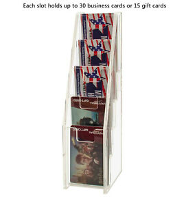 Five Tiered Clear Acrylic Gift Business Card Holder Stand Display Pack Of 12