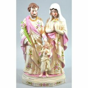 Antique German Hand Painted Bisque Statue Of The Holy Family Joseph Maria