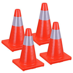 4pcs Traffic Cone 17in Slim Fluorescent Red Reflective Road Safety Parking Cones
