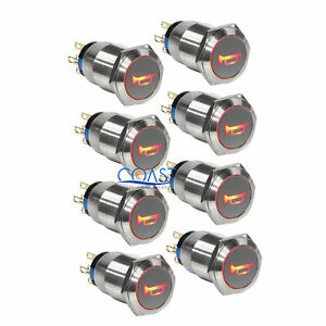 8x Durable 12v Led 19mm Momentary Red Car Horn Push Button Toggle Light Switch