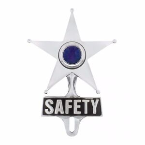 Light Up Blue Jewel Vintage Style Safety Star License Plate Topper Hot Rat Rod