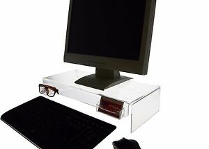 Lot Of 2 Computer Monitor Riser Stand With Sunglasses And Business Card Holder