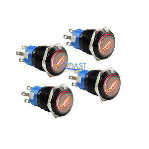 4x Durable 12v Red Led 19mm Momentary Car Horn Push Button Toggle Light Switch