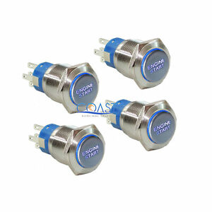 4x Durable 12v Blue Led 19mm Momentary Engine Start Push Button Toggle Switch