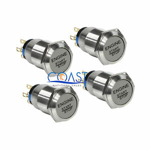 4x Durable 12v Green Led 19mm Momentary Engine Start Push Button Toggle Switch