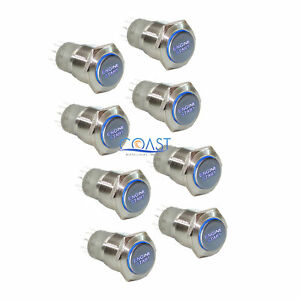 8x Durable 12v Blue Led 16mm Momentary Engine Start Push Button Toggle Switch