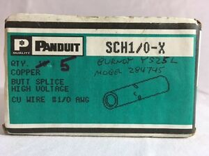 Lot 5 New Panduit Sch1 0 x Copper Butt Splice High Voltage Cu Wire 1 0 Awg