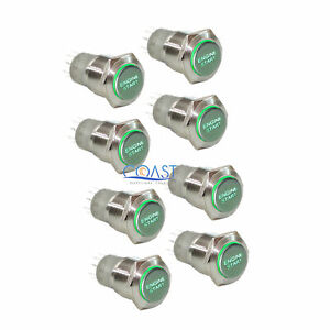 8x Durable 12v Green Led 16mm Momentary Engine Start Push Button Toggle Switch