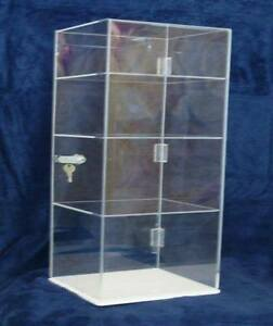 Acrylic Countertop Display Case 9 x9 x20 5 Locking Security Showcase Shelves