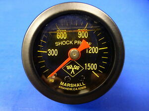 Marshall Gauge 0 1500 Psi Nos Nitrous Pressure 1 5 Midnight Black Liquid Filled