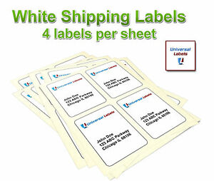 400 4x5 Postage Shipping Labels Inkjet Laser 4 Labels Per Sheet