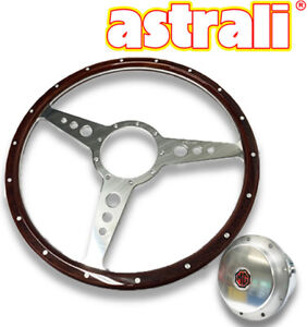 Astrali Mga 15 Inch Classic Wood And Alloy Steering Wheel