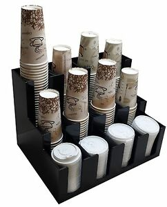 Cup And Lid Dispensers Holder Coffee Condiment Caddy Cup Rack Sugar Organizer