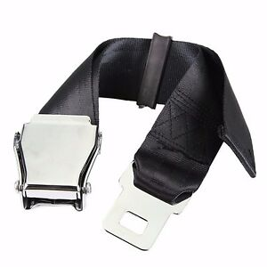 Universal 25 80cm Airplane Seat Belt Extender Aircraft Buckle Tough Simple Black