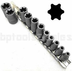 11pc Torx Star Bit Female E Socket Set Automotive Shop Tools External E4 E20