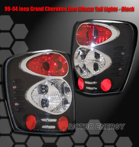 For 99 04 Jeep Grand Cherokee Rear Tail Lights Light Black 2002 2003 2001