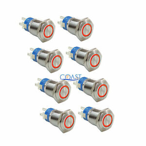 8x Durable 12v Led 19mm Car Momentary Push Button Red Angel Eye Metal Switch