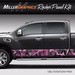Camo obliteration Pink Rocker Panel Graphic Decal Wrap Kit Truck Suv 4 Sizes