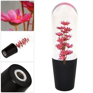 Universal 150mm Red Flower Filled Poly Shift Knob Clear Transparent Jdm Vip Usa