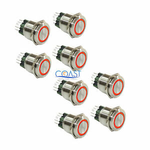 8x Durable 12v Led 25mm Car Push Button Red Angel Eye Metal Momentary Switch