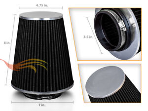 3 5 Black Truck Long Performance High Flow Cold Air Intake Cone Dry Filter