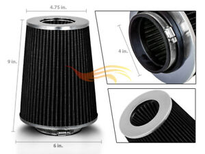 4 Black Truck Long Performance High Flow Cold Air Intake Cone Dry Filter