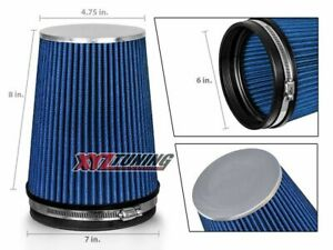 6 Blue Truck Long Performance High Flow Cold Air Intake Cone Dry Filter