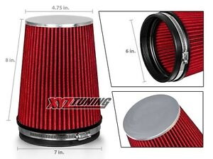 6 Red Truck Long Performance High Flow Cold Air Intake Cone Dry Filter