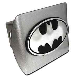 Batman oval All Metal Brushed Chrome Hitch Cover