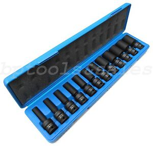 12pc 3 8 Drive Universal Ball Swivel Deep Impact Socket Set Sae Radius Set
