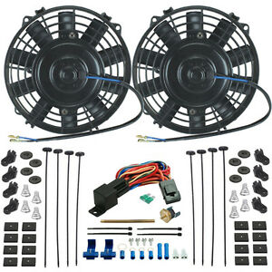 Dual 6 Inch Electric Radiator Cooling Fans Push in Probe Thermostat 2 pack Fan