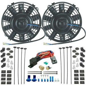 Dual 6 Inch Electric Fans 3 8 Npt Thermostat Switch Kit Fan Temp Sender Kit