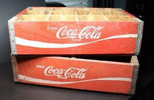 SET OF 2 S/2 VINTAGE RED COCA COLA WOOD CRATE CASE CARRIERS