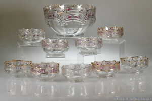 C 1912 No 15140 Athenia By U S Glass Stained Crystal Ten Piece Berry Set