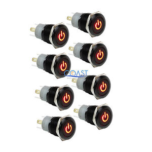 8x Durable Car Home 12v 16mm Push Button Red Led Latching On off Power Switch