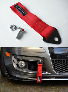 Universal Racing Sport Tow Hook Strap Band High Strength Heavy Duty Loop Red
