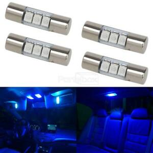 4pcs Blue 23mm Festoon Car Interior Mirror Lights Sun Visor Led Lamp 3 5050 Smd