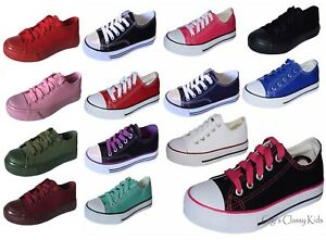 New Boys Girls Youth Classic Low Top Canvas Tennis Shoes Lace Up Sneakers Kids  $10.97