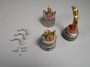 Lot Of 3 Cannon Circular Connector Plugs Electrical Cable Clamp Conns Used