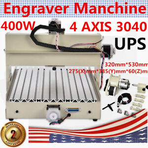 4 Axis 3040 Cnc Router Drilling milling Machine Carving 3d Cutter 400w Mach3