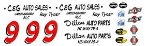 #9 Toy Tyner 1957 Chevy Dillon Auto Parts 1 64th HO Scale Slot Car Decals $5.50