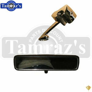 67 Mustang Inside Rear View Mirror Black Back Chrome Mounting Support Bracket